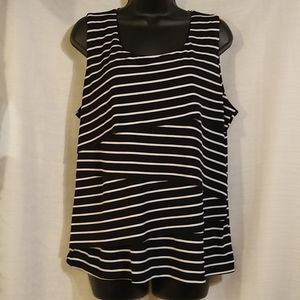 Cato Black White Layered Tank Top Sz XL